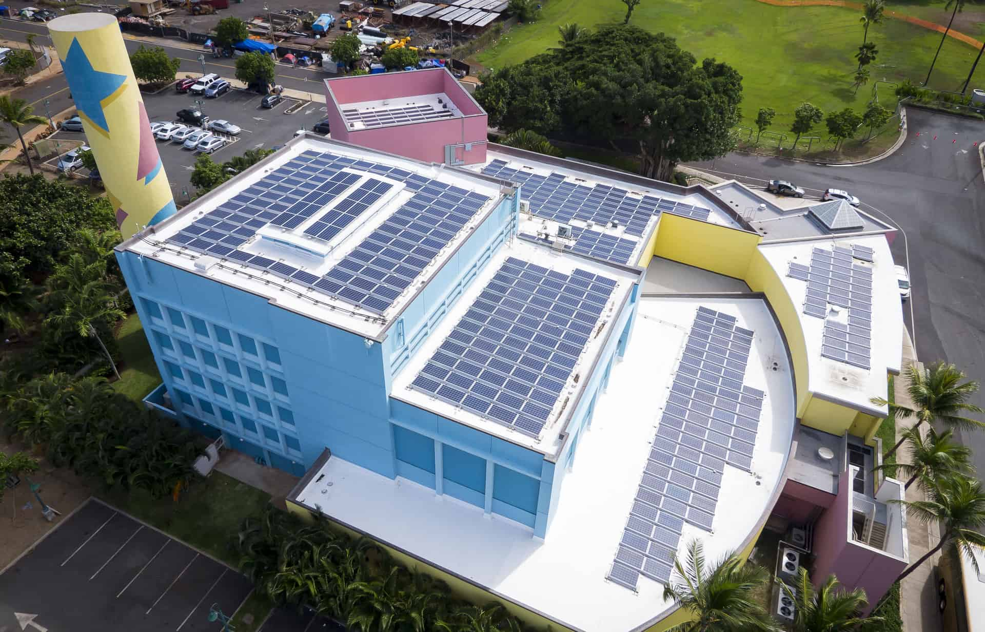 Aerial View of the Children's Discover Center showing solar panels on the roof.